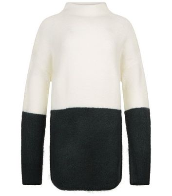 Teens Dark Green Colour Block Oversized Jumper