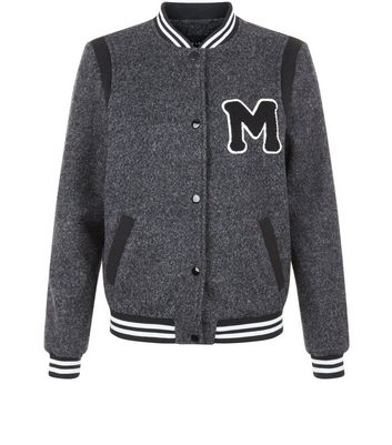 Teens Grey Textured Bomber Jacket