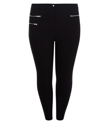 Curves Black Double Zip Pocket Bengaline Trousers