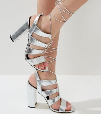 Silver Metallic Ghillie Block Heels