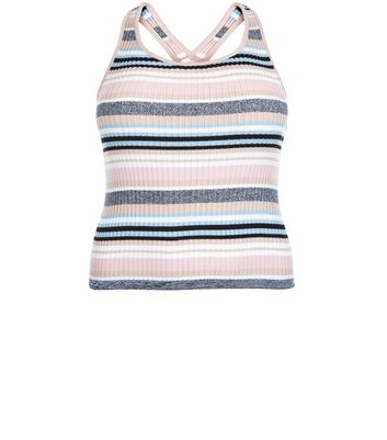 Curves Pink Stripe Cross Strap Top