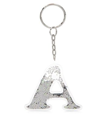 Silver A Intial Keyring