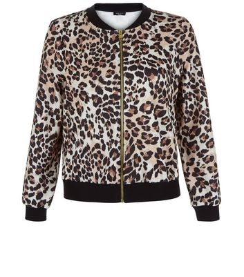 Petite Brown Animal Print Bomber Jacket