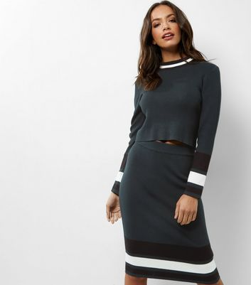 Petite Dark Green Stripe Hem Pencil Skirt