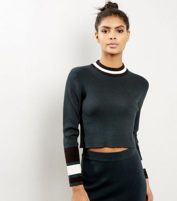 Petite Dark Green Contrast Trim Cropped Jumper