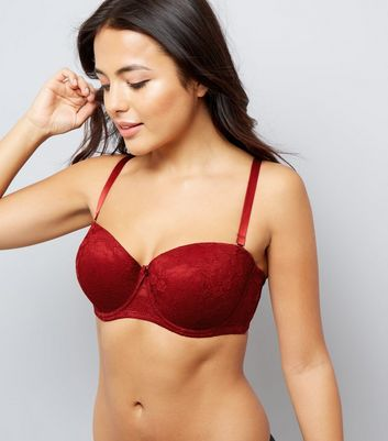 Red DD+ Lace Strapless Bra