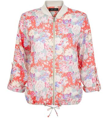 Red Floral Print Bomber Jacket