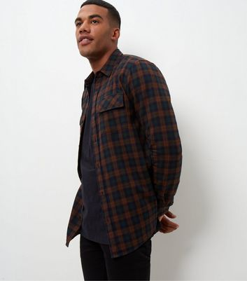 Grey Check Double Pocket Long Sleeve Shirt