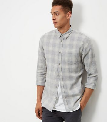 Pale Grey Check Cotton Long Sleeve Shirt