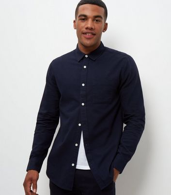 Navy Single Pocket Long Sleeve Shirt