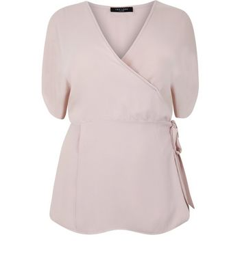 Curve Pink Tie Side Wrap Top
