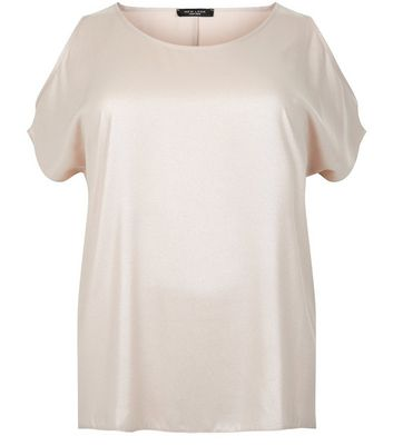 Curves Shell Pink Chiffon Cold Shoulder Top