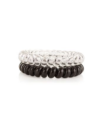 2 Pack Black and Clear Spiral Hair Bands