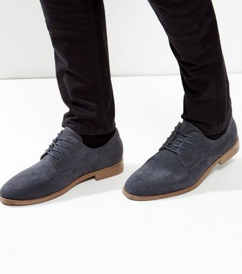 Navy Suedette Lace Up Derby Shoes
