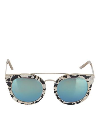 Cream Animal Print Mirrored Sunglasses