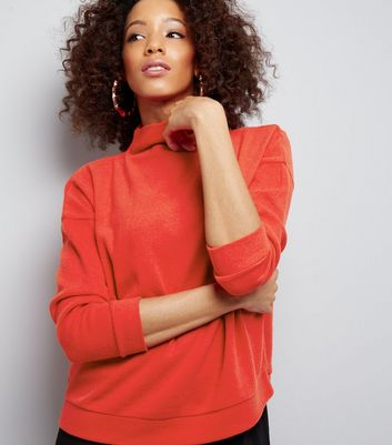 Red Funnel Neck Long Sleeve Sweater