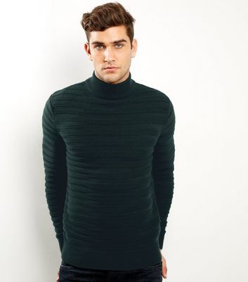 Dark Green Horizontal Ribbed Turtle Neck Jumper