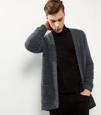 Dark Grey Brushed Waterfall Cardigan