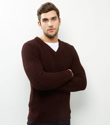 Burgundy V Neck Long Sleeve Jumper