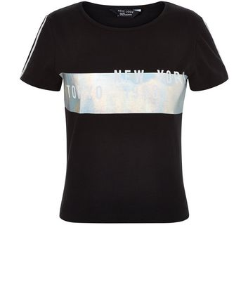 Teens Black New York Holographic Panel T-Shirt