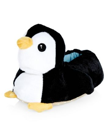 Teens Black Penguin Slippers