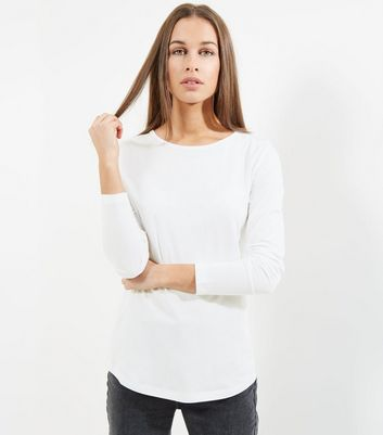 Tall White Long Sleeve Crew Neck T-Shirt
