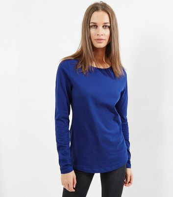 Tall Blue Long Sleeve Crew Neck T-Shirt