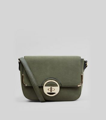 Khaki Suedette Twist Lock Shoulder Bag
