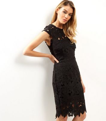 AX Paris Black Crochet Lace Cap Sleeve Midi Dress