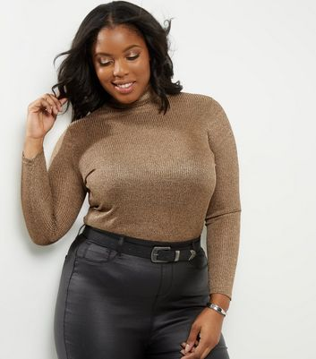 Curves Gold Metallic Ribbed Roll Neck Top