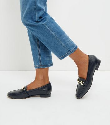 Black Leather Metal Trim Loafers