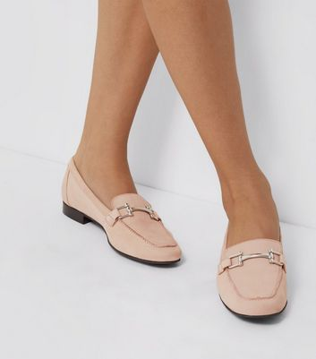 Pink Leather Metal Trim Loafers