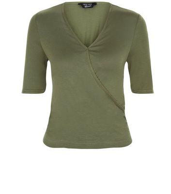 Teens Khaki Wrap 1/2 Sleeve Top