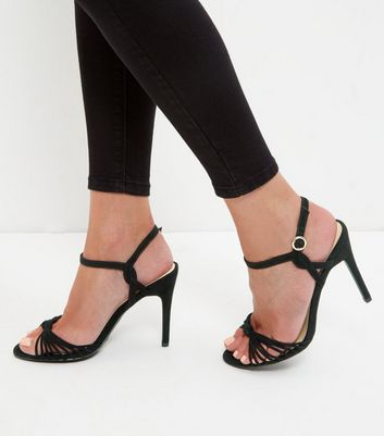 Black Suedette Knot Strappy Heeled Sandals
