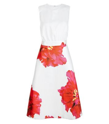 AX Paris Cream Floral Print 2 in 1 Skater Dress