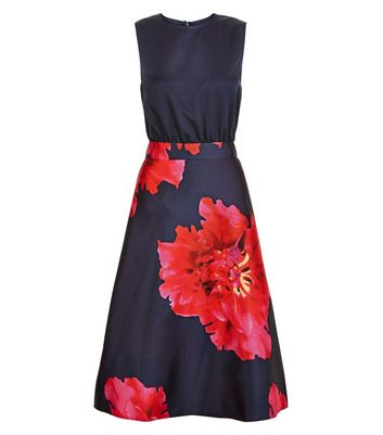 AX Paris Navy Floral Print 2 in 1 Skater Dress