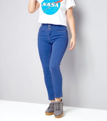 Bright Blue Super High Waisted Skinny Jeans