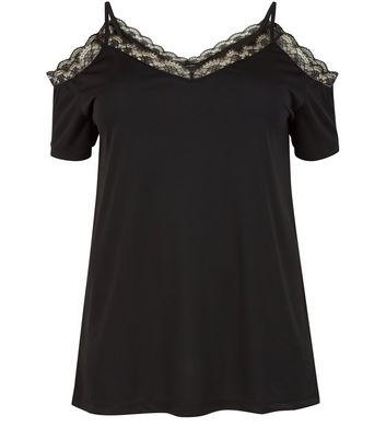 Curves Black Lace Trim Cold Shoulder Top