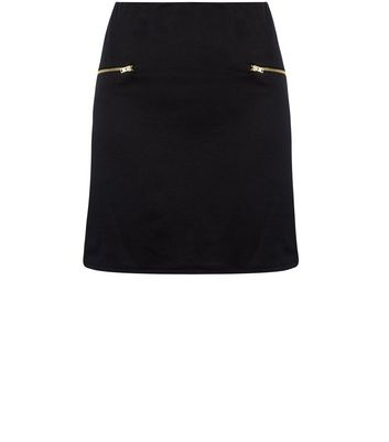 Teens Black Zip Side A-Line Skirt