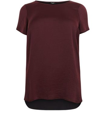 Curves Burgundy Sateen Dip Hem T-shirt