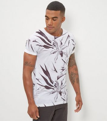 Monochrome Floral Print Roll Sleeve T-Shirt