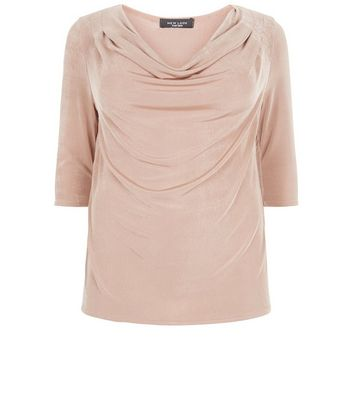Curves Shell Pink Cowl Neck Top