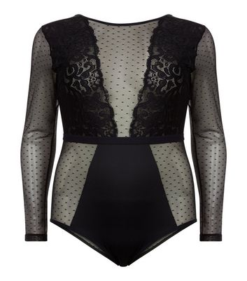 Curves Black Lace Mesh Panel Bodysuit