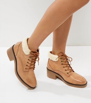 Tan Shearling Top Lace Up Boots