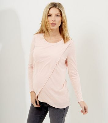 Maternity Shell Pink Wrap Long Sleeve Nursing T-Shirt
