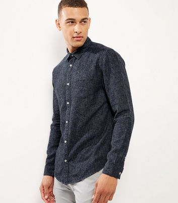 Navy Brushed Linen Blend Single Pocket Long Sleeve Shirt