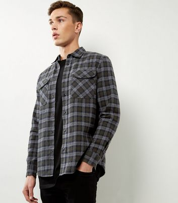 Khaki Check Cotton Double Pocket Shirt
