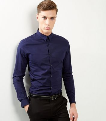 Blue Stretch Slim Fit Long Sleeve Shirt