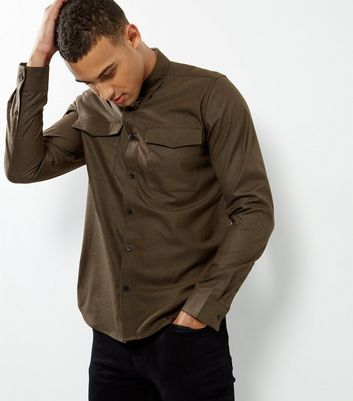 Khaki Double Pocket Long Sleeve Shirt