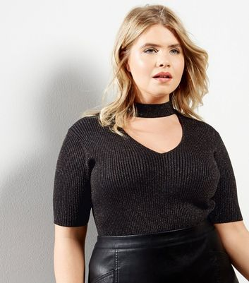 Curves Black Ribbed Choker Neck Top